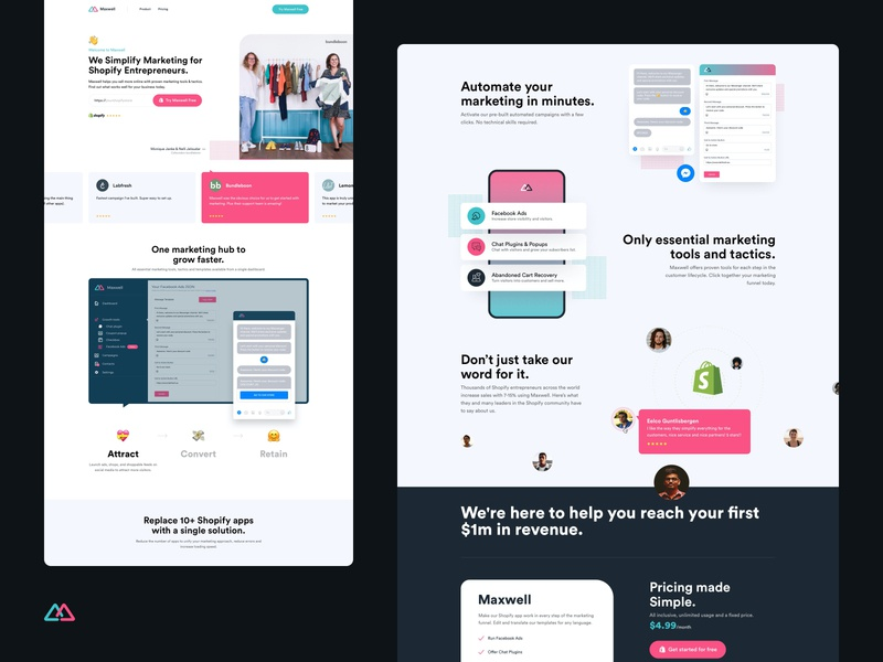 Maxwell - Full Page ui followilko marketing site shopify plugin e-commerce website landingpage re-design