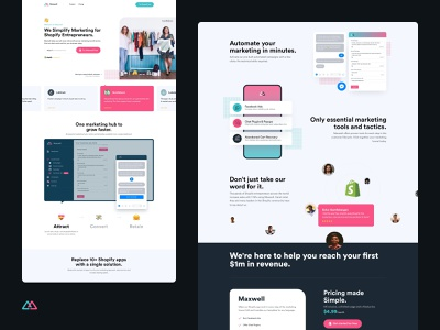 Maxwell - Full Page ui followilko marketing site shopify plugin e-commerce website landingpage re-design