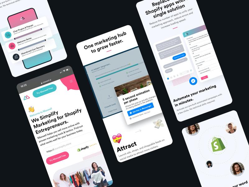 Maxwell - mobile shopify marketing responsive design landingpage app ui mobile