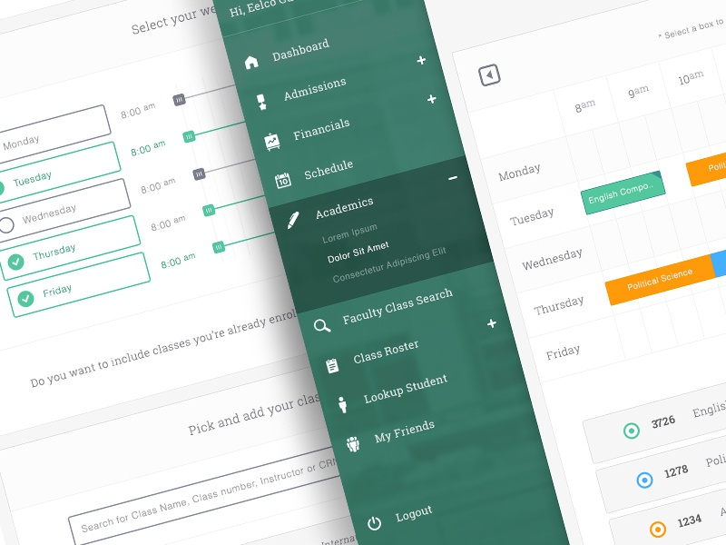 Scheduile Builder navigation schedule builder application calendar roster form fields followilko ui