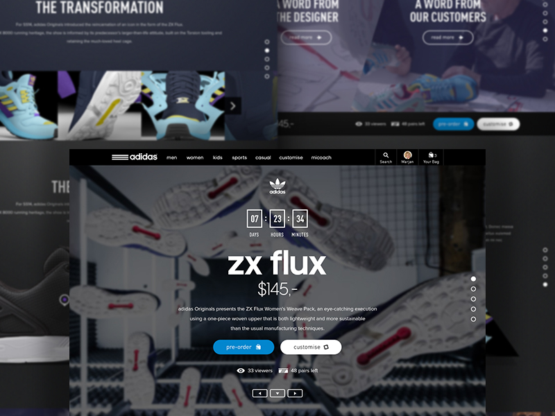 Adidas product launch detail page (concept) full-page parallax minimal launch shop e-commerce landingpage adidas
