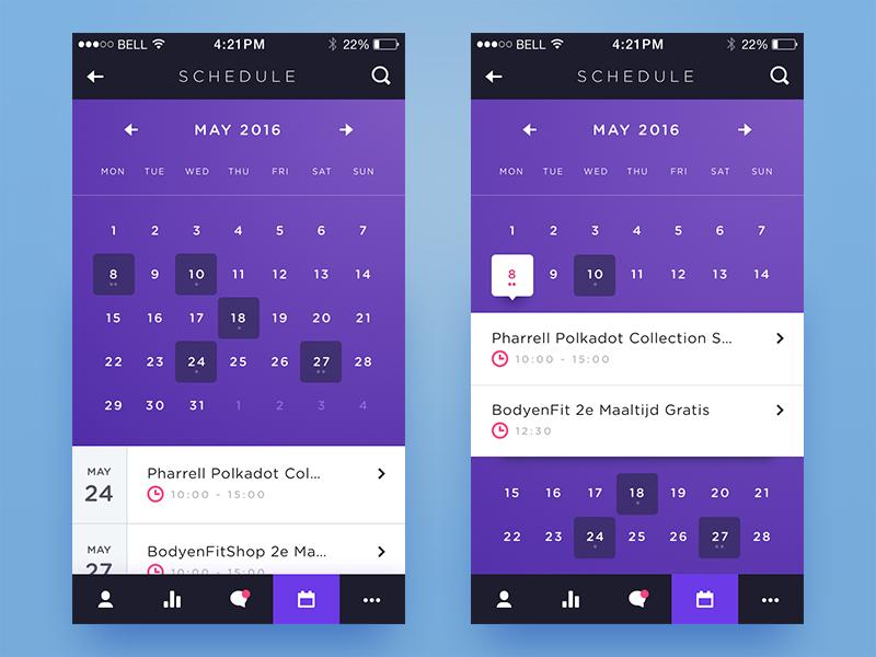 Weekly Layup #7 - Voicey Schedule voicey date planning app schedule calendar ui mobile