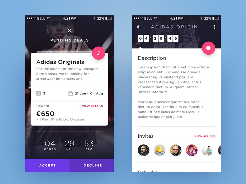 Weekly Layup #10 - Pending Deal Flow ux voicey social app pop-up deal timer swipe cart ui mobile