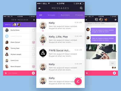 Weekly Layup #14 - Chat Flow profile friends inbox message messenger flow chat ux ui mobile