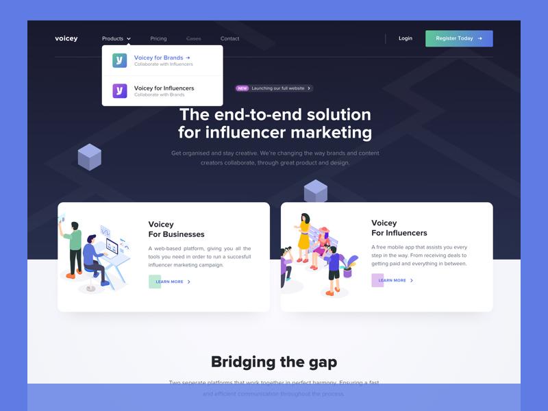 Voicey full Website ios app mobile platform marketing influencer live voicey website landingpage