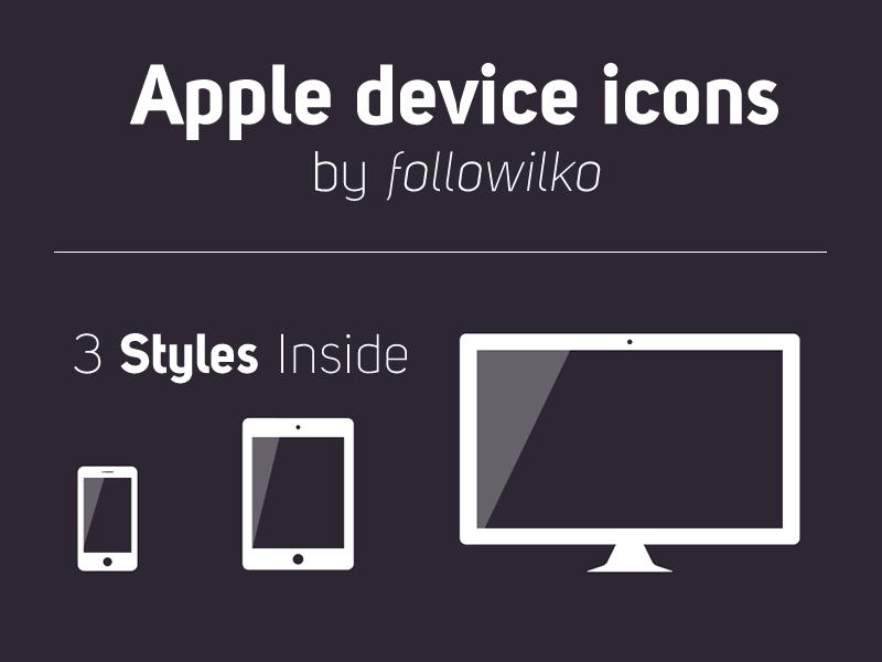 Apple Device Icons apple icons devices iphone ipad cinema display minimal glossy reflection responsive freebie followilko