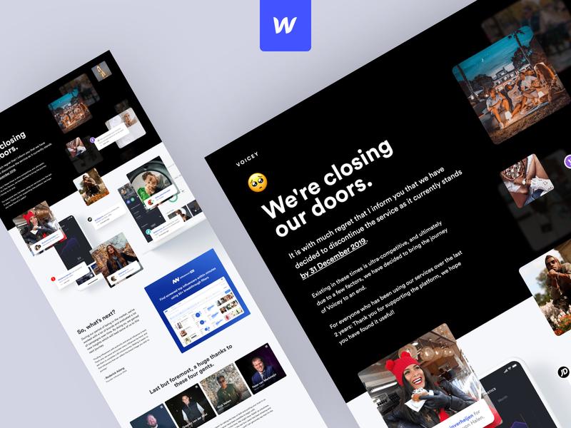 Voicey - Closing landingpagedesign marketing influencer marketing coming soon responsive webflow landingpage