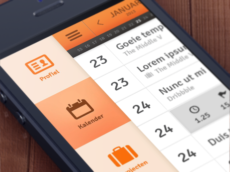 Taskmanager Concept Mobile ui concept icons calender mobile app ux menu navigation iphone5 nl orange retina followilko