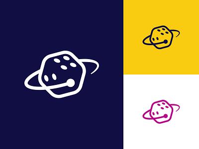 Space Casino Logo Concept identity blue dark vector mark illustration design space dice branding logo
