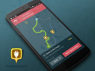 Selecting route with charging station energy e-car navigation map mobile