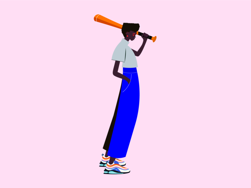 A mean person style street girls bad girl good nike bat fashion cool character mad illustrator
