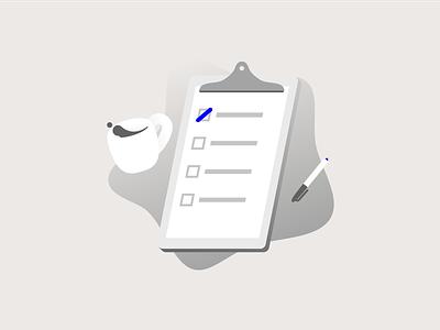 Blockchain illustration #2 tasks clipboard illustration
