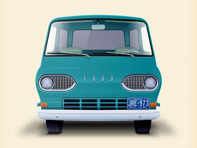 Dream machine ford econoline aqua illustration