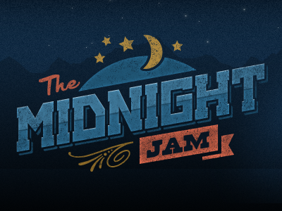 The Midnight Jam logo music illustration vintage
