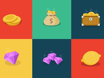 I'll take what's in the box, Monty lemons gems coins prizes game illustration