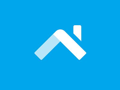 Logo mark house home blue knockout mark logo