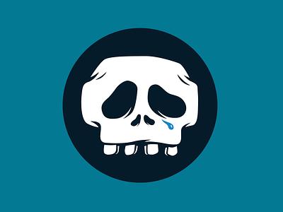 Lost at sea ocean sad skull illustration