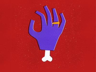 Commitment cheese bone ring hand illustration