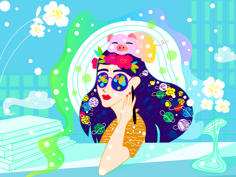 Let life be beautiful like summer flowers space girl typography design flowers illustration