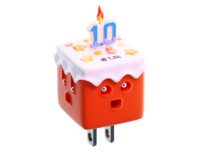 AnyCable render cream stars candle character blender illustration plastic cake 3d