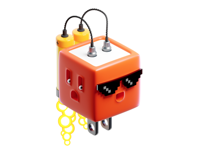 AnyCable Pro jet pack socket battery fire plastic render character blender 3d