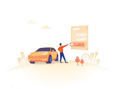 YXP start page illustration car design