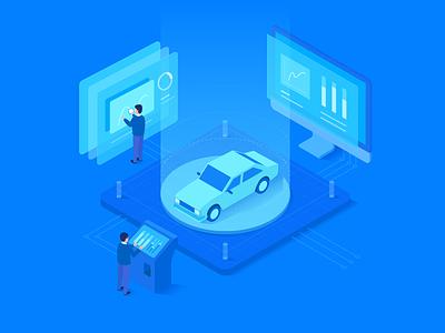 Detection Systems flat  design illustration car