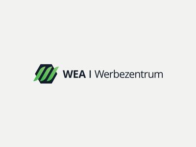 Wea Werbezentrum germany center print blue green designs icon vector ux ui 99designs typography logo design logo design branding brand