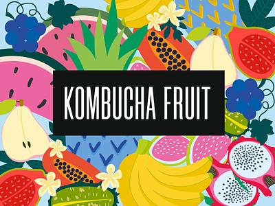 Kombucha fruit guava pitaya watermelon pineapple grape pear illustration green blue identity logo vector graphic design kombucha fruit