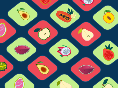 Fruit halves icons icons navy blue red halves avocado apple guava papaya watermelon pitaya pear illustration fruit icon green vector graphic design