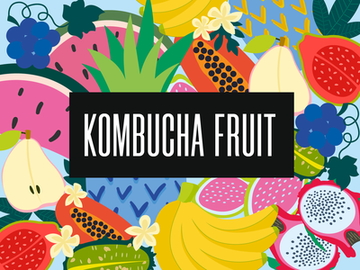 Kombucha fruit watermelon pineapple pitaya pear guava grape fruit illustration red fruits pattern green blue logotype branding logo identity vector graphic design kombucha