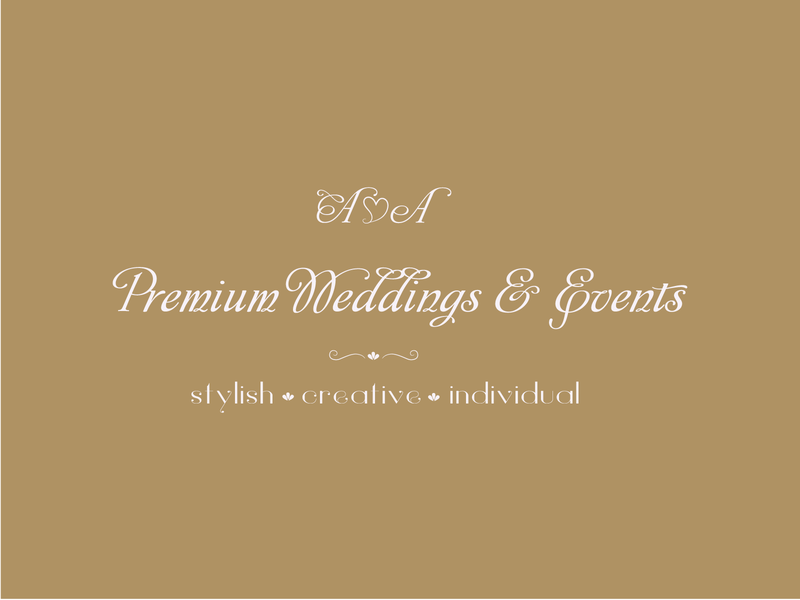 Premium Wedding & Events individual stylish creative agency creative design letters events wedding premium gold typography branding logo identity vector graphic design