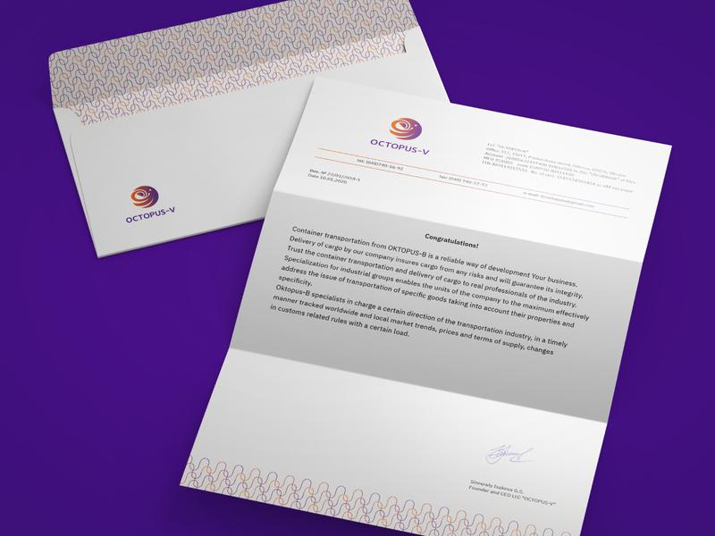 Visual Brand Identity Octopus - V evernote letter pattern purple orange identity branding logotype vector logo graphic design