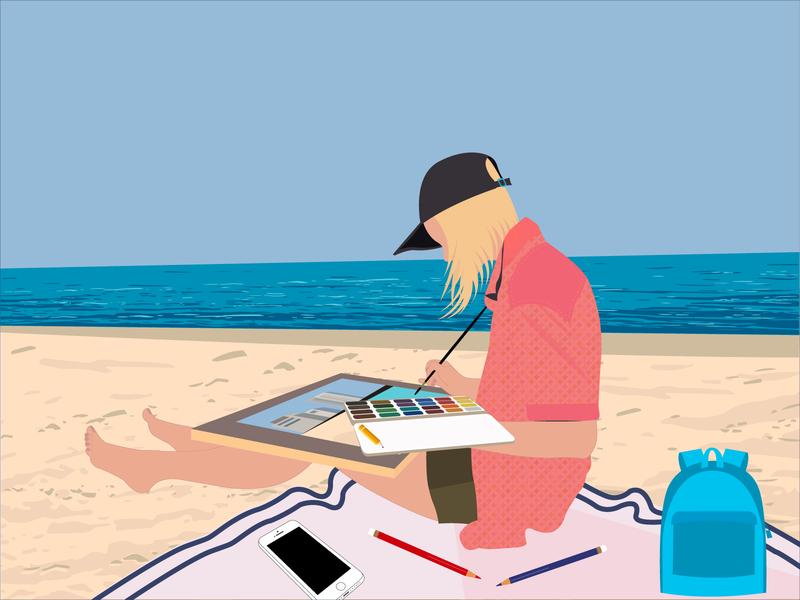 Sea, summer. summer camp sky sand identity artist girl summertime bag iphone pencil paints picture summer blue vector graphic design illustration