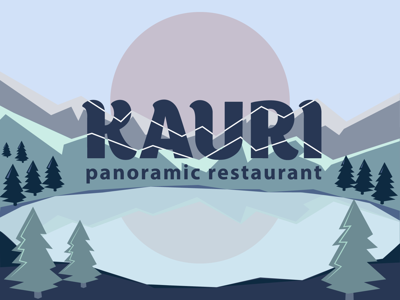 Logo for Kauri - panoramic restaurant reflection sun dawn fir trees lake mountains restaurant branding kauri restaurant panoramic pattern typography logotype blue green illustration vector identity logo graphic design