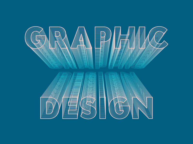 Graphic design isometric design typography design blue vector graphic design