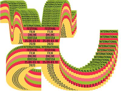 Odessa International Film Festival 2020 text isometric illustrator international online 2020 film odessa fastival poster vector graphic design