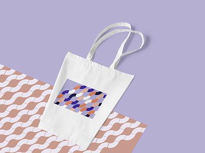 Tote Bag white violet illustration waves black orange pattern blue vector graphic design bag tote