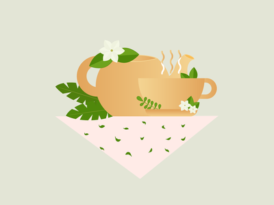 Cup of tea cup of tea jasmine flowers teapot leaves green tea cup illustration vector graphic design