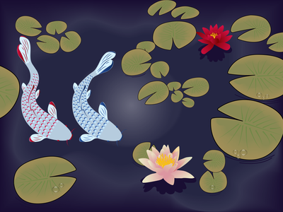 Fishes  in the pond ai water lilies pond fishes illustration identity vector graphic design