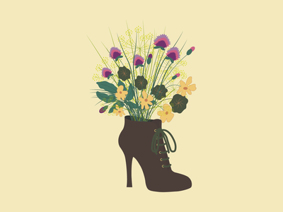 Flowers in ankle boots bouquet ai dill herb clover ankle boots boots ankle flowers illustration identity vector graphic design