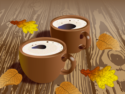 Coffee and autumn ai wooden table oak aspen pair coffee cup leaves autumn coffee design illustration vector graphic design