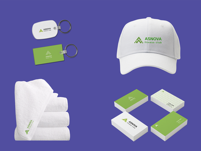 Identity for Fitness club Asnova cap business card keychain towel visual design brand green pattern logotype branding logo identity vector graphic design