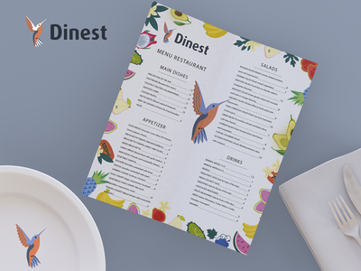 Dinest hummingbird menu icon pattern typography illustration logotype logo branding vector identity graphic design