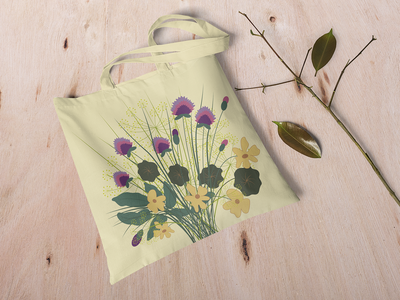 Summer bag flowers tote bag pattern illustration identity vector graphic design