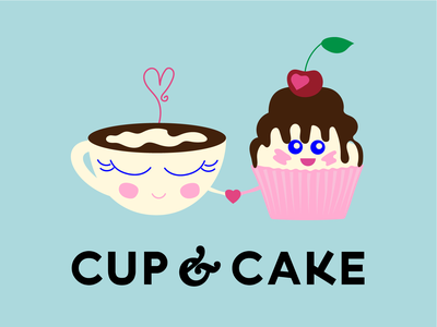 Cup & cake cherry heart cake cup logo illustration logotype vector identity graphic design