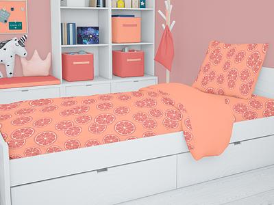 Bed linen design grapefruit ai illustration pattern branding identity vector graphic design