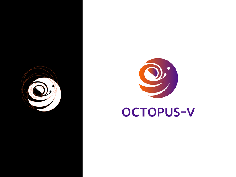 OCTOPUS - V tentacles gradient purple orange octopus logo logotype graphic design icon identity logo vector octopus