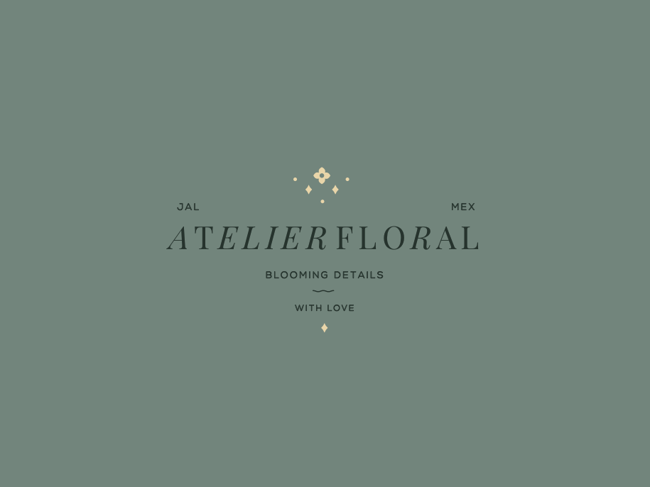 Atelier detail bouquet natural flower vector branding design color brand logo