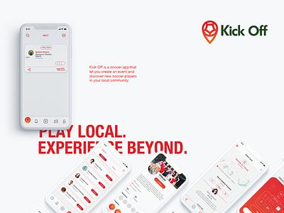Kick off   Soccer App football play logo ui ux red energy design app soccer